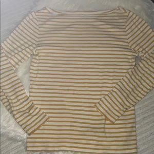 Gap Yellow Striped Boat Neck 3/4 Sleeve Top